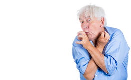 Elderly, desperate, mad, looking crazy, desperate man, going insane Stock Photos