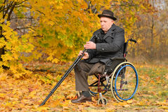 Elderly disabled man in his wheelchair Royalty Free Stock Images