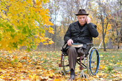 Elderly disabled man in a wheelchair in a park Stock Photos