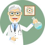 Elderly doctor doing chemical experiments Royalty Free Stock Photos