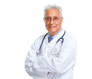 Elderly doctor. Senior doctor man isolated white background. Health care Stock Photography