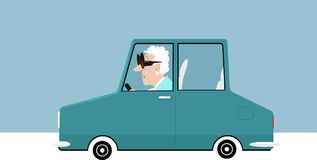 Elderly driver on the road. Elderly woman in huge glasses driving a car, EPS 8 vector illustration stock illustration