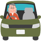 Elderly driver. A vector illustration of the elderly driver royalty free illustration