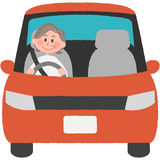 Elderly driver. A vector illustration of the elderly driver Stock Photos