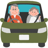 Elderly driver. A vector illustration of the elderly driver stock illustration