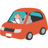 Elderly driver. A vector illustration of the elderly driver vector illustration