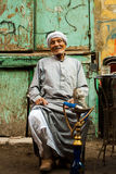 Elderly Egyptian Smoking Sheesha Royalty Free Stock Photos