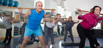 Elderly exercise with gymnastic sticks in modern gym. Positive elderly exercise with gymnastic sticks in modern gym Royalty Free Stock Image
