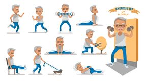 Elderly Exercise. Senior exercise of male. exercising character design set. at home with a simple daily routine. Concept of health care people in the elderly vector illustration