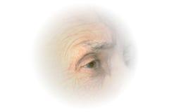 Elderly Eye Vignette. White vignette of right eye profile of a senior citizen woman royalty free stock photos
