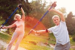 Elderly family doing exercises with crutches royalty free stock photo