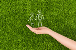 Elderly Family life insurance. Two Woman's open hands making a protection gesture  isolated on green background.Family life insurance, protecting family, family Royalty Free Stock Images