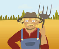 Elderly farmer on the background of fields and trees. Vector illustration Stock Photo