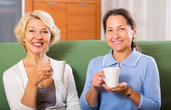 Elderly female having tea break. Happy elderly female having tea break at office. Focus on blonde woman Stock Images