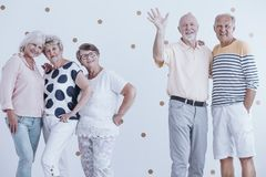 Elderly friends at party. Smiling, elderly friends having fun together at a casual party royalty free stock images