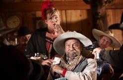 Elderly Gambler and Girlfriend Cheating Royalty Free Stock Photos