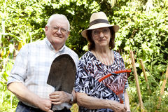 Elderly gardeners Stock Photos