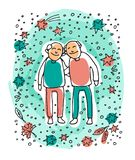 Old couple-05. Elderly gay couple on blue background. Gay seniors. Doodle style. Design element for leaflets or posters royalty free illustration