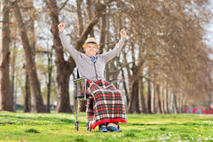 Elderly gentleman gesturing happiness in park Stock Photography