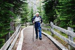 Elderly Gentleman hiking on a trail. Elderly gentleman hiking on a path at Moraine Lake Royalty Free Stock Photo