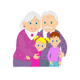 Elderly grandmother, grandfather and grandson and granddaughter Stock Images