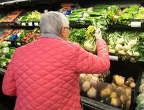 An Elderly Woman Shopping for Kohlrabi. An elderly, gray-haired woman in a pink coat shopping for kohlrabi in the produce section of a market Stock Photo