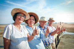 Elderly group traveling to the sea royalty free stock photography