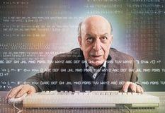 Elderly hacker nerd Royalty Free Stock Image