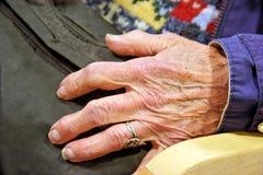 Elderly Hand. Elderly senior woman`s hand resting on purse. Horizontal Stock Image
