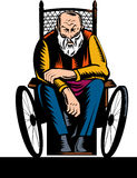 Elderly handicapped  wheelchair Stock Images