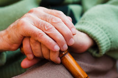 Elderly hands Stock Images
