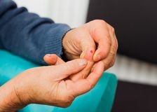 Elderly Hands After Medical Examination Royalty Free Stock Images