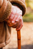 Elderly hands resting on walking stick. An elderly man standing, leaning on a wooden walking stick Stock Photo
