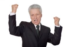 Elderly happy businessman Royalty Free Stock Photos