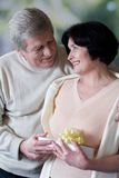 Elderly happy couple with gift box. Smiling and embracing royalty free stock photos