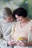Elderly happy couple with giftbox, smiling and embracing Royalty Free Stock Images