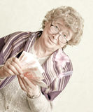 Elderly happy woman Stock Photos