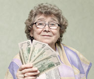 Elderly happy woman stock photography