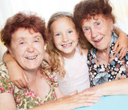 Elderly happy woman with great-grandchild Stock Photos