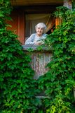 Elderly happy woman on a green terrace in his rural house. stock photos