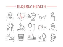 Elderly health line icons set. Retirement cartoon vector design. Vector infographics. Elderly health line icons set. Retirement cartoon vector design. Vector royalty free illustration