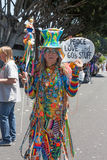 Elderly Hippie at thePasadena Doo Dah Rose Parade Royalty Free Stock Photos
