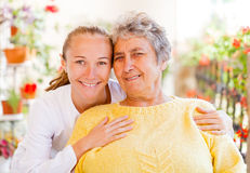 Elderly home care. Find the right home care services for your loved royalty free stock photography