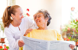 Elderly home care. Find the right home care services for your loved stock photography