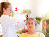 Elderly home care stock image