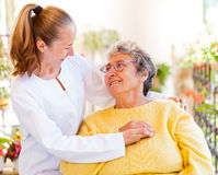 Elderly home care. Find the right home care services for your loved stock photo