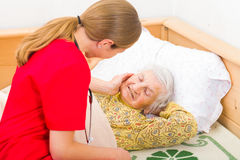 Elderly home care. Photo of elderly women with the caregiver royalty free stock photography