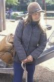 Elderly homeless woman holding cane, Chicago, Illinois Royalty Free Stock Images