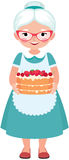 Elderly Housewife Grandmother Wearing Glasses And Apron Holding Royalty Free Stock Photos