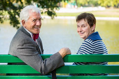 Elderly husband and wife stock photo